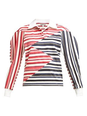 Symonds Pearmain zigzag panelled striped cotton shirt