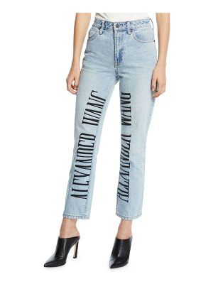 T by Alexander Wang Cult High-Rise Straight-Leg Jeans w/ Embroidered Logo