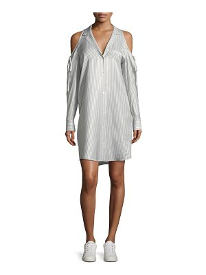 T by Alexander Wang Drapey Striped Button-Front Cold-Shoulder Shirt