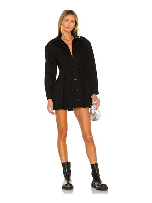 T by Alexander Wang fit and flare black denim jacket dress