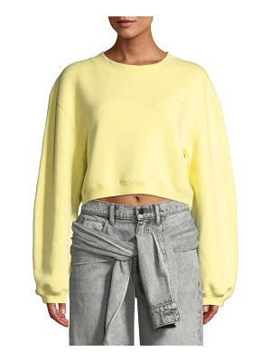T by Alexander Wang Heavy French Terry Cropped Pullover Sweatshirt