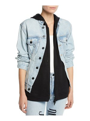 T by Alexander Wang Joint Layered Hooded Denim Jacket