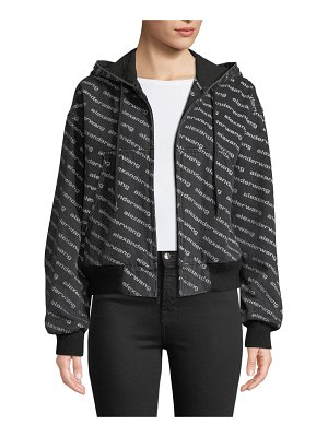 T by Alexander Wang Logo-Print Hooded Bomber Jacket
