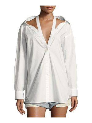 T by Alexander Wang Long-Sleeve Cotton Poplin Oversized Shirt with Neck Tape Detail