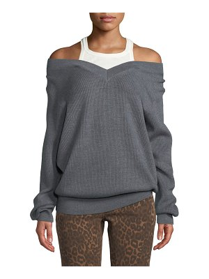 T by Alexander Wang Ribbed Off-Shoulder Wool Sweater with Tank