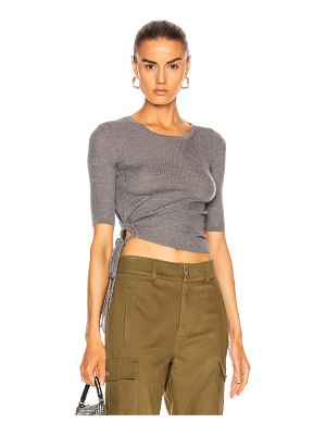 T by Alexander Wang ruched rib crewneck tee