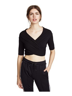 T by Alexander Wang stretch jersey double layer wrap top