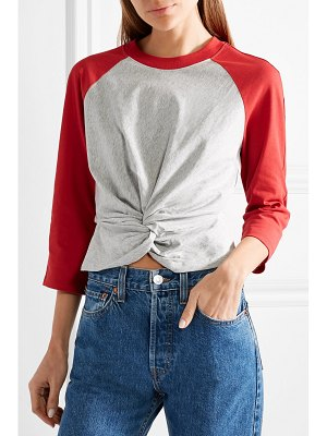 T by Alexander Wang twist-front two-tone cotton-jersey top