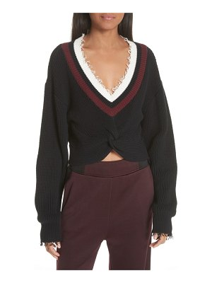 T by Alexander Wang twist front varsity sweater