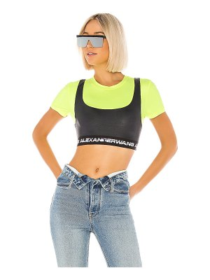 T by Alexander Wang wash & go satin jersey logo elastic crop top
