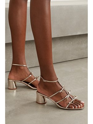 Tabitha Simmons covie bow-embellished metallic textured-leather sandals