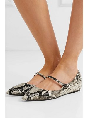 Tabitha Simmons hermione snake-effect leather point-toe flats
