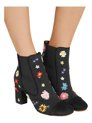 Tabitha Simmons micki meadow suede-paneled embroidered canvas ankle boots
