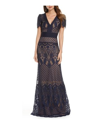 Tadashi Shoji embroidered lace evening gown