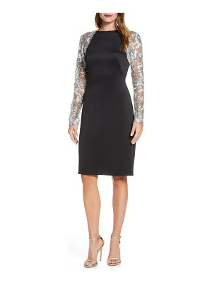 Tadashi Shoji illusion lace long sleeve cocktail dress