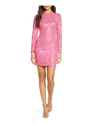 SHO by Tadashi Shoji long sleeve sequin cocktail dress