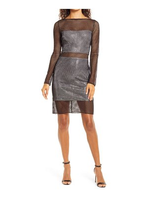 SHO by Tadashi Shoji netting illusion long sleeve sheath dress