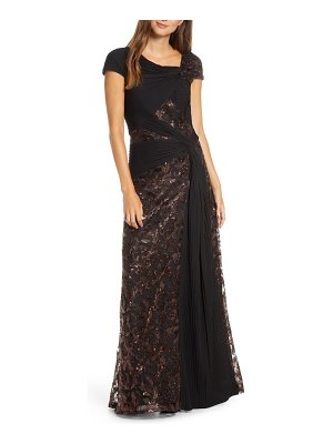 Tadashi Shoji pintuck wrapped embroidered lace gown