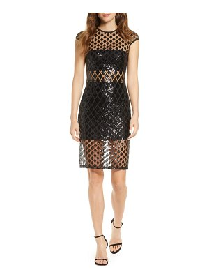 SHO by Tadashi Shoji sequined illusion mesh cocktail dress