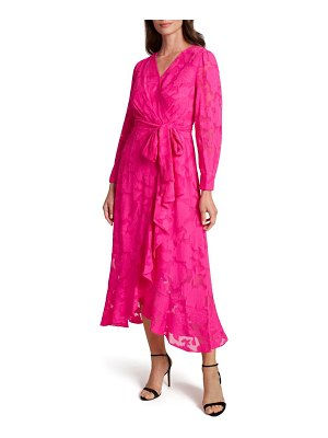 Tahari chiffon clip long sleeve faux wrap maxi dress