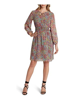 Tahari dot print long sleeve smocked chiffon dress
