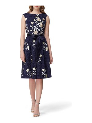 Tahari embroidered fit & flare lace dress