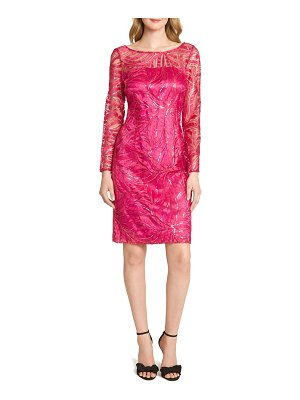 Tahari embroidered sequin long sleeve cocktail dress