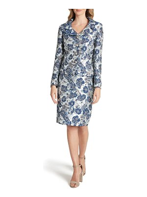 Tahari floral jacquard long sleeve two-piece dress