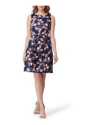 Tahari metallic floral jacquard fit & flare dress