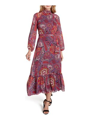 Tahari mock neck print long sleeve maxi dress