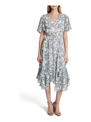 Tahari print chiffon smocked flutter sleeve midi dress