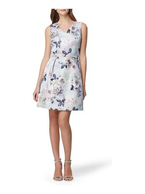 Tahari sleeveless floral jacquard fit & flare dress