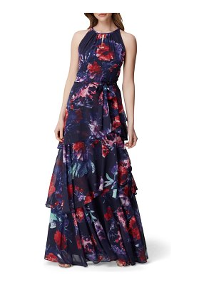 Tahari sleeveless printed chiffon gown