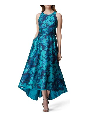 Tahari sleeveless printed mikado gown