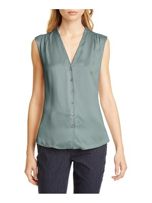 TAILORED BY REBECCA TAYLOR button up sleeveless silk blouse