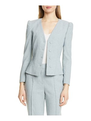 TAILORED BY REBECCA TAYLOR collarless linen blend jacket