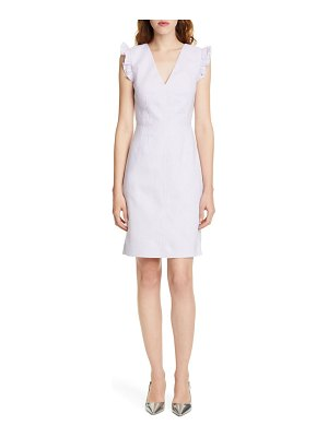 TAILORED BY REBECCA TAYLOR frill detail sleeveless linen blend sheath dress