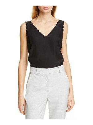 TAILORED BY REBECCA TAYLOR scallop detail silk charmeuse tank top