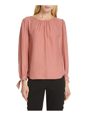 TAILORED BY REBECCA TAYLOR sleeve tie silk charmeuse top