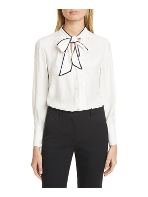 TAILORED BY REBECCA TAYLOR tie neck silk blend top