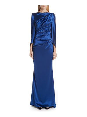 Talbot Runhof long sleeve ruched evening dress