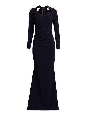 Talbot Runhof long-sleeve crepe gown