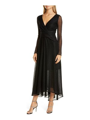 Talbot Runhof long sleeve metallic voile gown