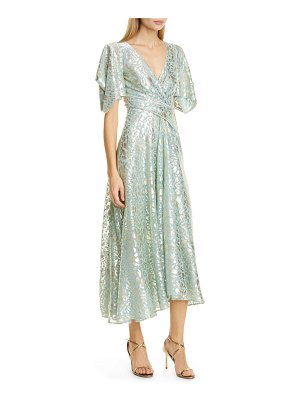 Talbot Runhof metallic animal spot voile midi dress