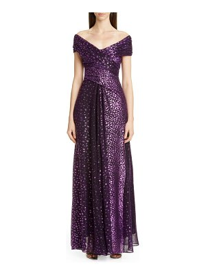 Talbot Runhof metallic degrade voile gown