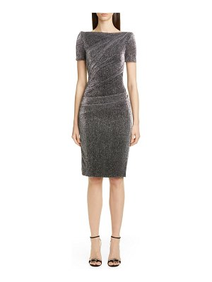 Talbot Runhof metallic voile cocktail sheath dress