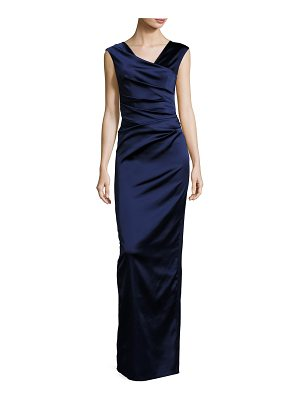 Talbot Runhof Note V-Neck Cap-Sleeve Ruched Gown