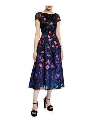 Talbot Runhof Poppy Field Silk Coupe Cap-Sleeve Dress