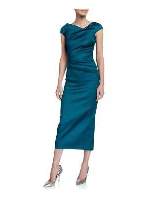 Talbot Runhof Roya High-Neck Cap-Sleeve Draped Midi Gazar Cocktail Dress
