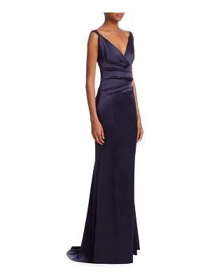 Talbot Runhof ruched crepe satin mermaid gown